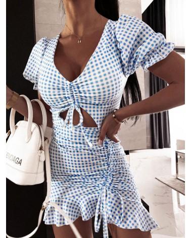 Sukienka w kratkę błękitna
