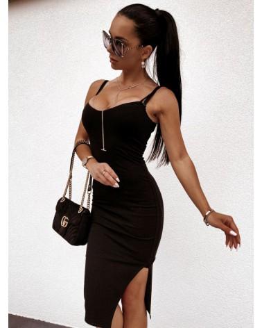 Sukienka z rozcięciem czarna