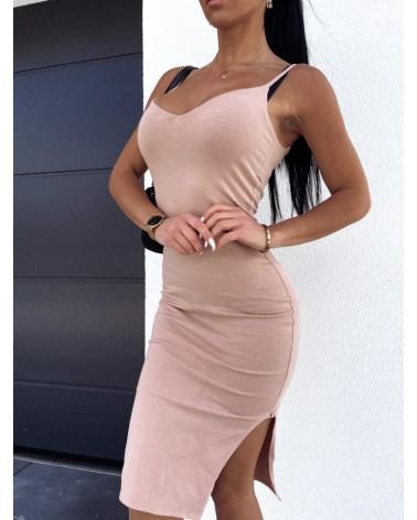 Sukienka z rozcięciem beżowa