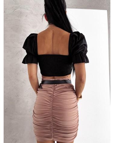 Krótka bluzka z wiązaniem na dekolcie czarna