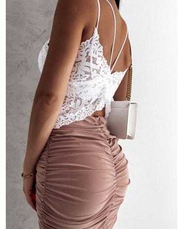 Drapowana spódnica karmelowa