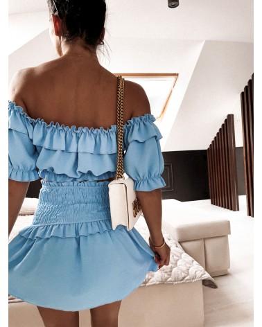 Komplet dwuczęściowy top i spódnica niebieski