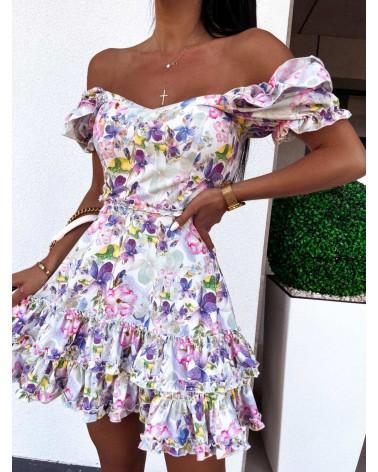 Sukienka lekko rozkloszowana fioletowo zielona