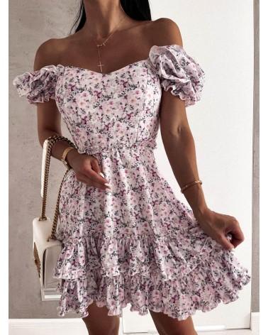 Sukienka lekko rozkloszowana liliowa