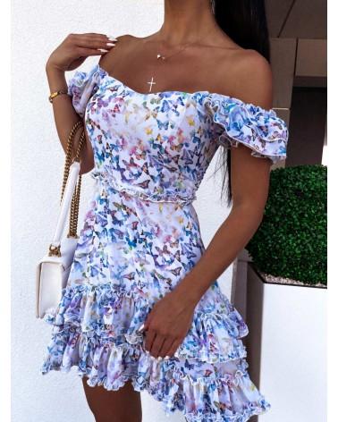Sukienka lekko rozkloszowana błękitna