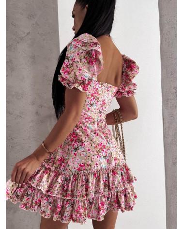 Sukienka lekko rozkloszowana różowo zielona