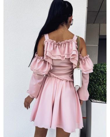 Sukienka z odkrytymi ramionami pudrowa