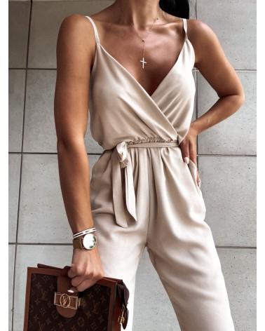 Elegancki kombinezon damski beżowy