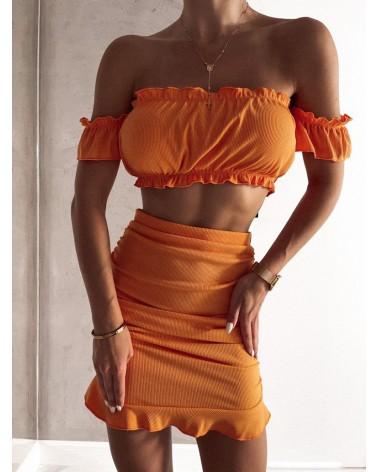 Komplet ze spódnicą pomarańczowy