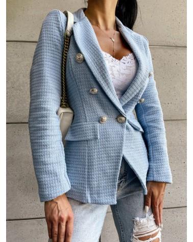 Tweedowa marynarka błękitna