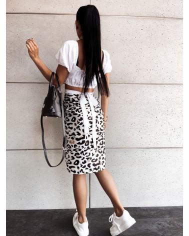 Wzorzysta spódnica w kolorze biało-czarno-beżowym