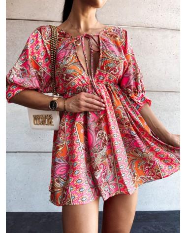 Sukienka z głębokim dekoltem pomarańczowa