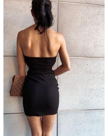Sukienka z wycięciami w talii czarna