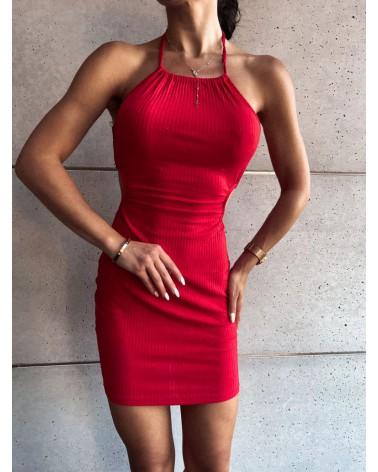 Sukienka z wycięciami w talii czerwona