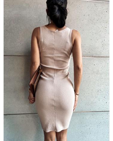 Sukienka midi beżowa