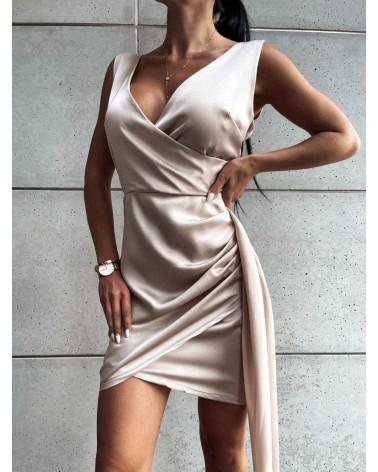 Elegancka sukienka z satyny beżowa