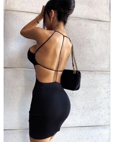 Dopasowana sukienka z odkrytymi plecami mała czarna