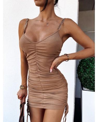 Dopasowana sukienka mini ze ściągaczami karmelowa