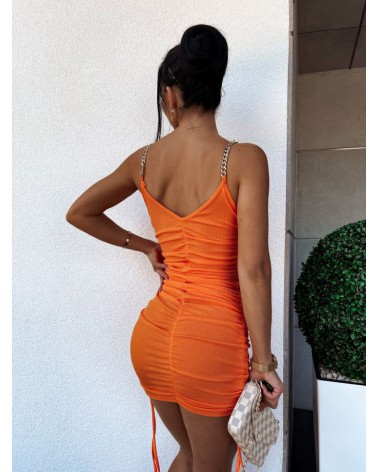Dopasowana sukienka mini ze ściągaczami pomarańczowa