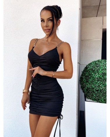 Dopasowana sukienka mini ze ściągaczami czarna