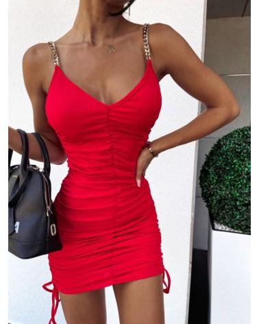 Dopasowana sukienka mini ze ściągaczami czerwona