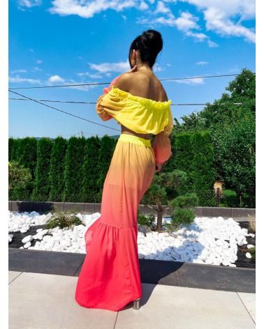 Komplet damski na lato ombre żółty