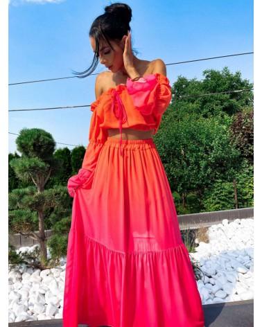 Komplet damski na lato ombre pomarańczowy