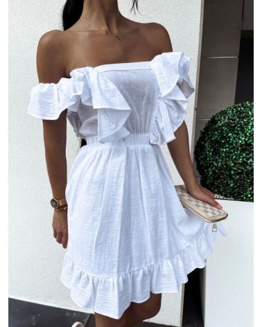 Zwiewna sukienka z falbankami biała