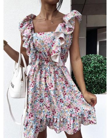 Zwiewna sukienka w kwiaty zielono niebieska