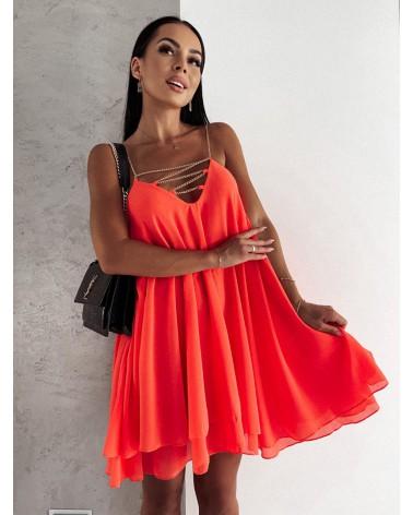 Sukienka na ramiączkach koralowa