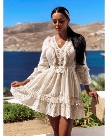 Boho sukienka z muszelkami kremowa