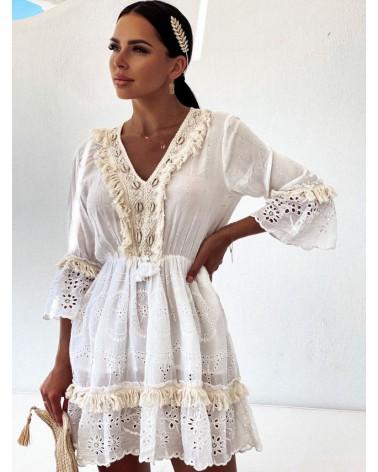 Boho sukienka z muszelkami kremow