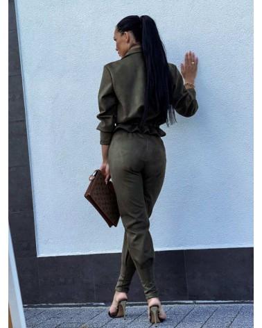 Komplet welurowy bluza ze spodniami khaki