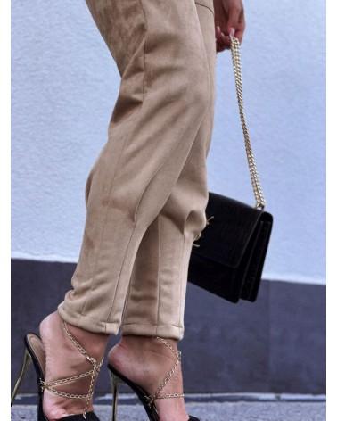 Komplet zamszowy bluza ze spodniami beżowy