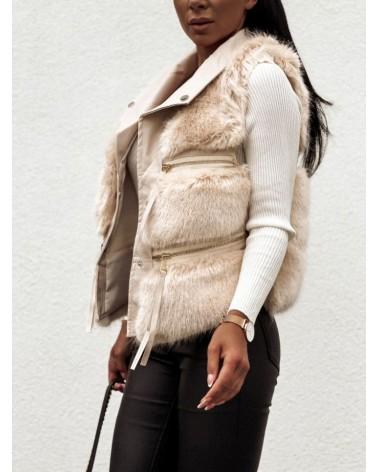 Damska kamizelka futrzana z kieszeniami beżowa