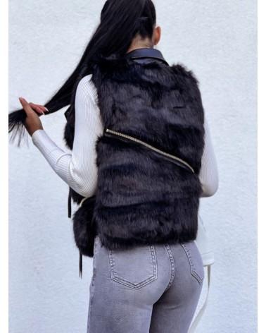 Damska kamizelka futrzana z kieszeniami czarna