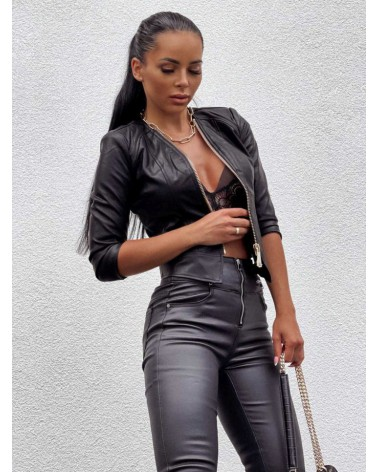 Woskowane spodnie z wysokim stanem czarne