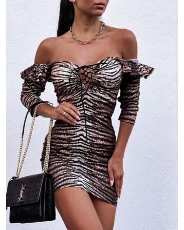 Dopasowana sukienka z wiązanym dekoltem brązowa