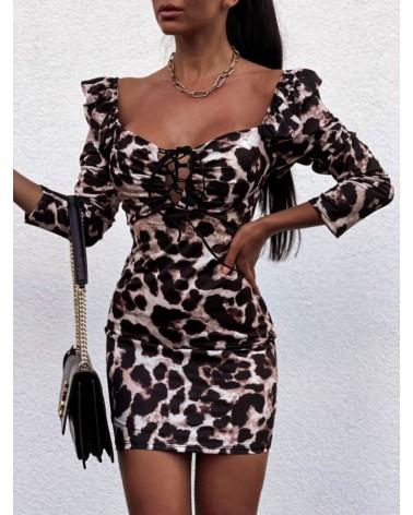 Dopasowana sukienka z wiązanym dekoltem ecru
