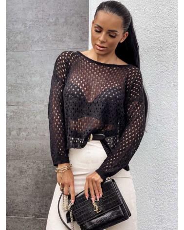 Sweterek z długim rękawem zdobiony czarny