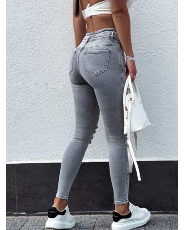 Jeansy zapinane na guziki z wysokim stanem szare