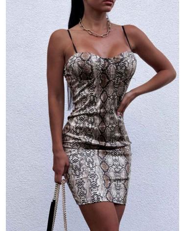 Ołówkowa sukienka mini beżowa