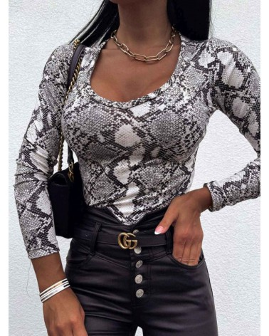Damska bluzka z długim rękawem popielata