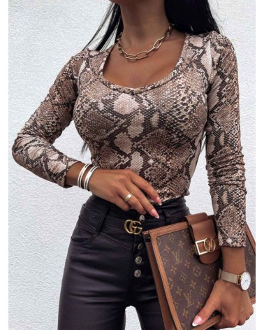Damska bluzka z długim rękawem jasnobrązowa