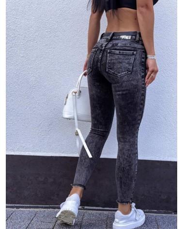 Marmurkowe spodnie push up grafitowe