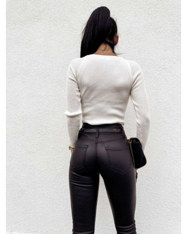 Elegancka bluzka w prążki ecru