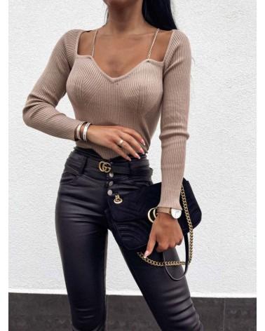 Elegancka bluzka w prążki beżowa