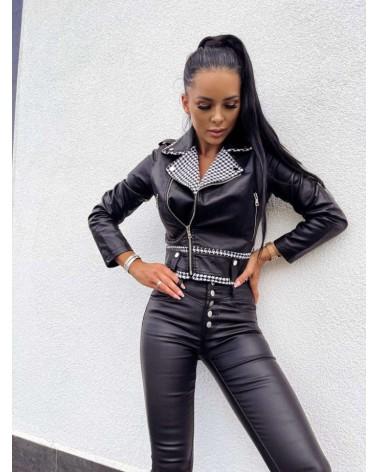 Spodnie woskowane z guzikami czarne