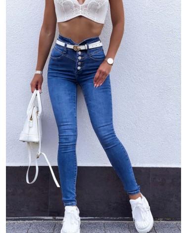 Gładkie jeansy zapinane na guziki z wysokim stanem niebieskie