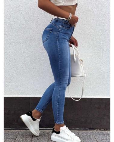 Jeansy skinny damskie push up niebieskie